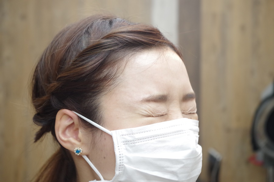 花粉症対策アレンジ!!髪が顔に触れるとかゆくなる方に!