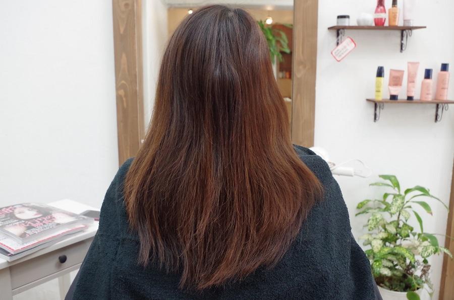 黄色くなった髪をピンクブラウンでツヤUP♪